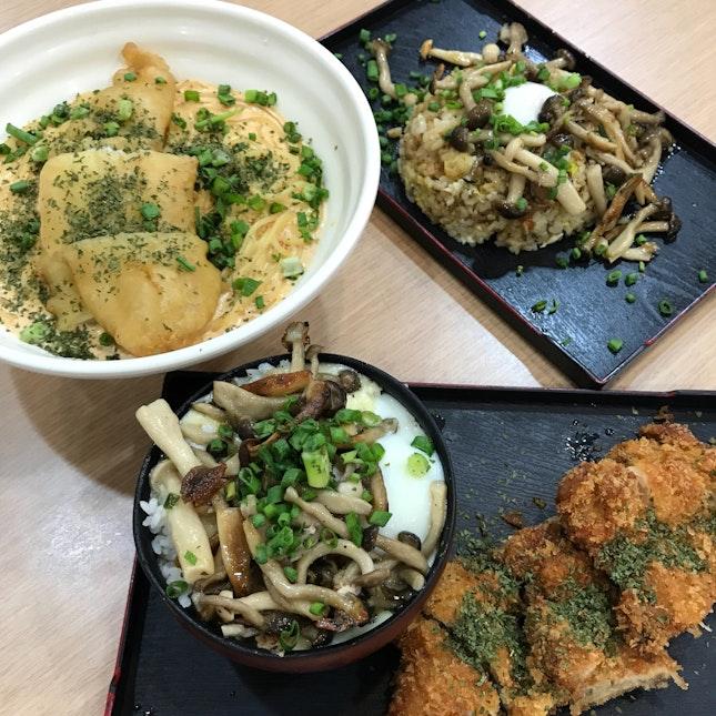 Sambal Spaghetti   Chicken Katsu   Garlic Fried Rice