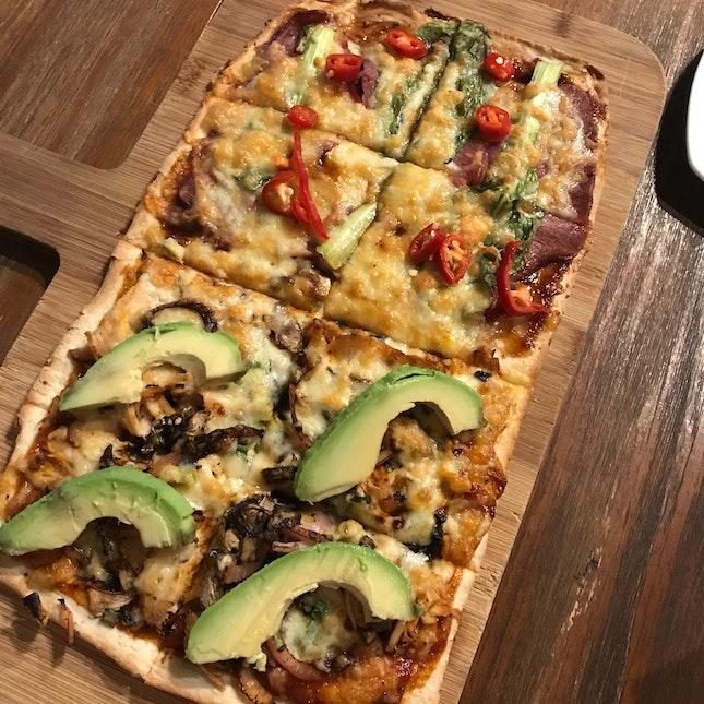 Chicken Avocado + Roast Duck Pizza