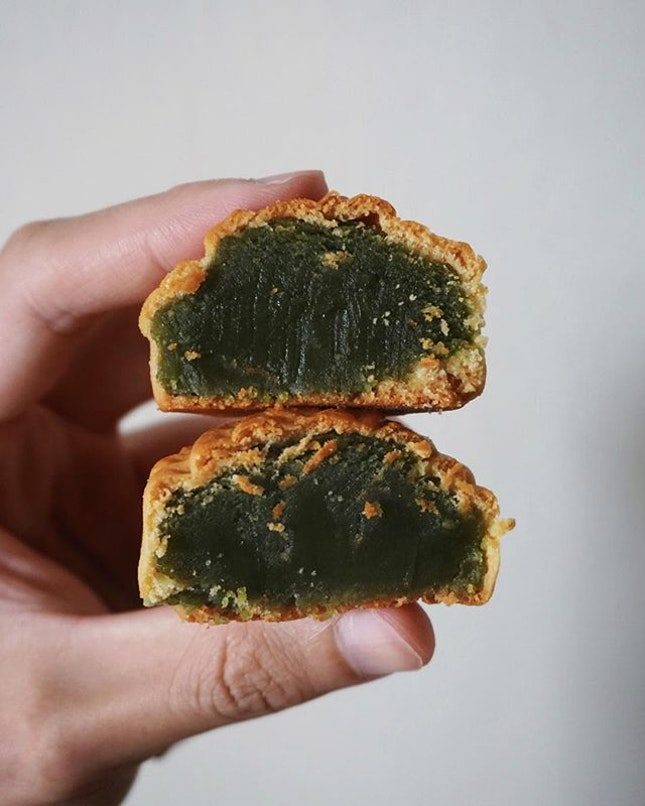green tea baked mooncake from sims vista market.