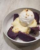 vanilla custard, coconut ice cream, and chopped nuts atop slices of roasted purple sweet potato.