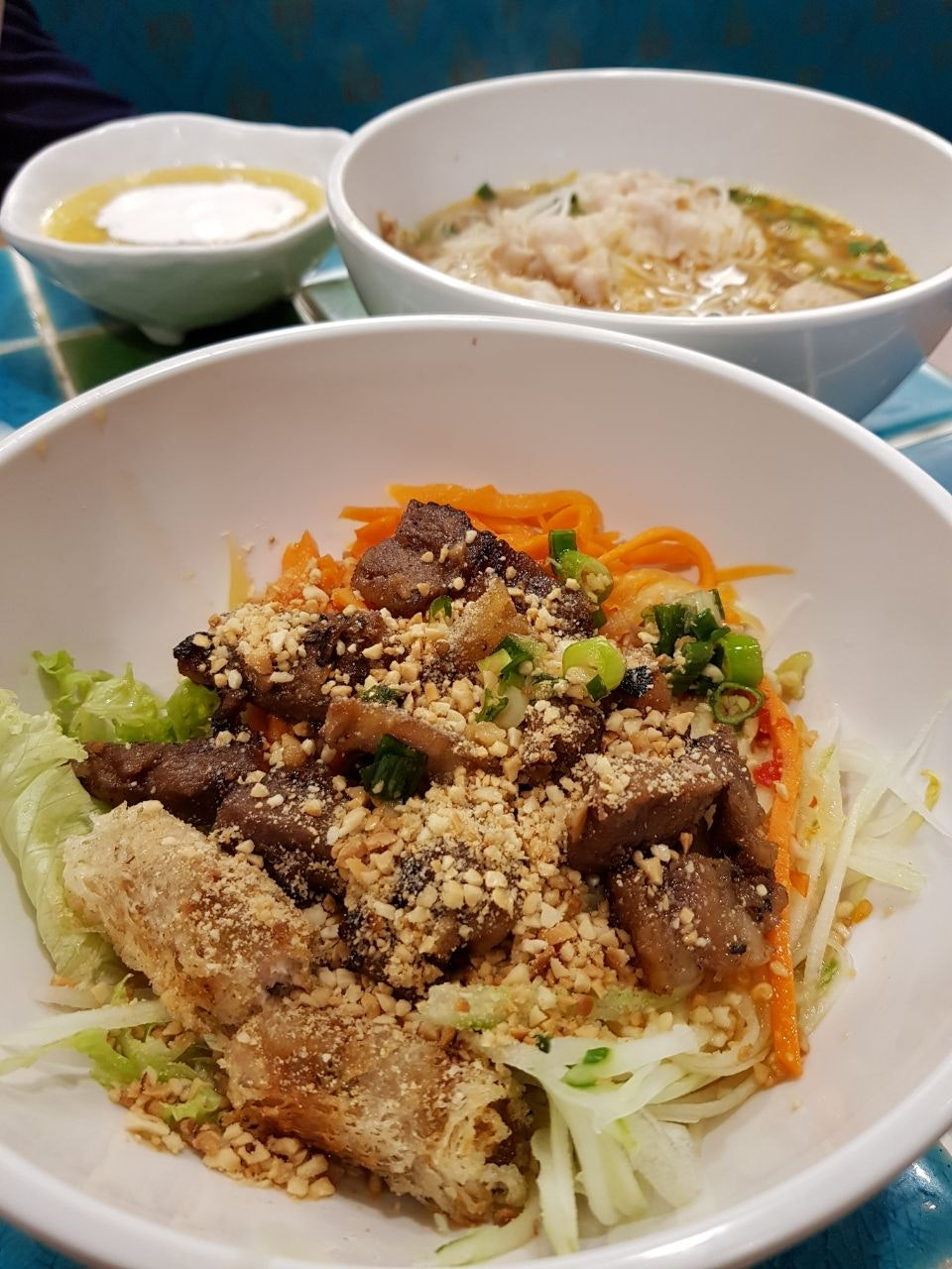 Dry Rice Vermicelli With Grilled Pork Belly And Spring Roll