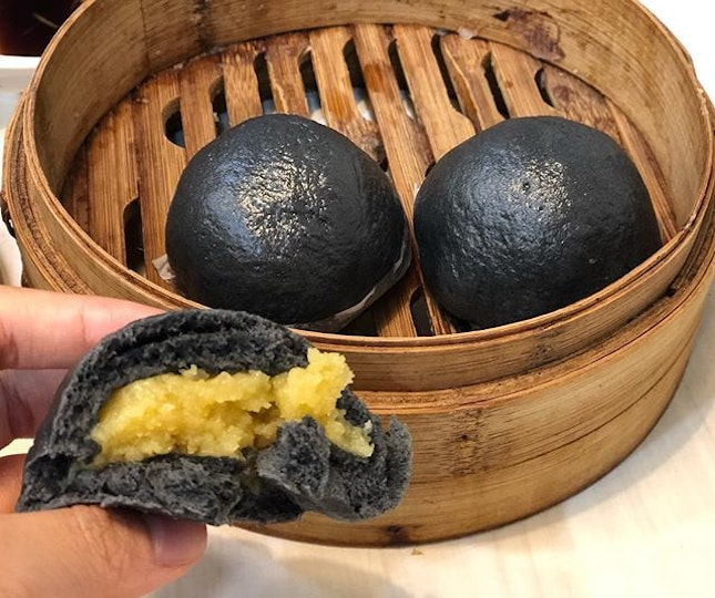 Steamed charcoal custard bun ($3.80) ⭐️ 4.5/5 ⭐️ 🍴It's #chinesenewyear so throwaback to dim sum!