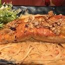 Salmon with creamy sauce pasta by #pastamania #burpple #burpplesg #foodgasm #foodporn #foodstagram #kakainnanamansibuntit