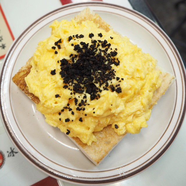 Scambled eggs with truffle on toast.