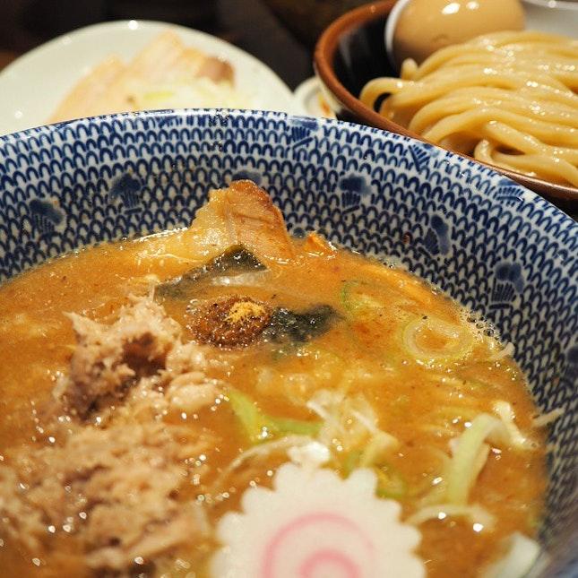 Tsukemen or ramen dipped in sauce.