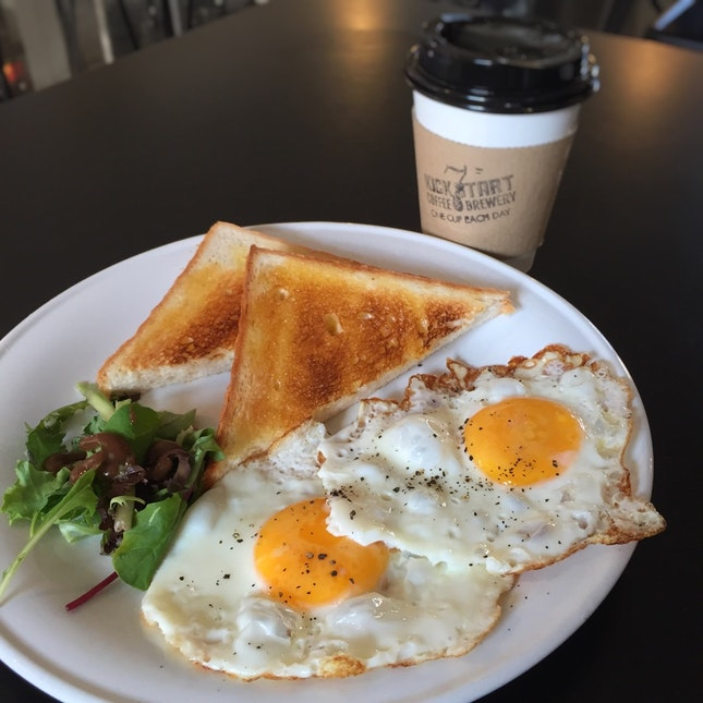 A Basic Done With Care: Eggs on Toast ($6.90 nett)