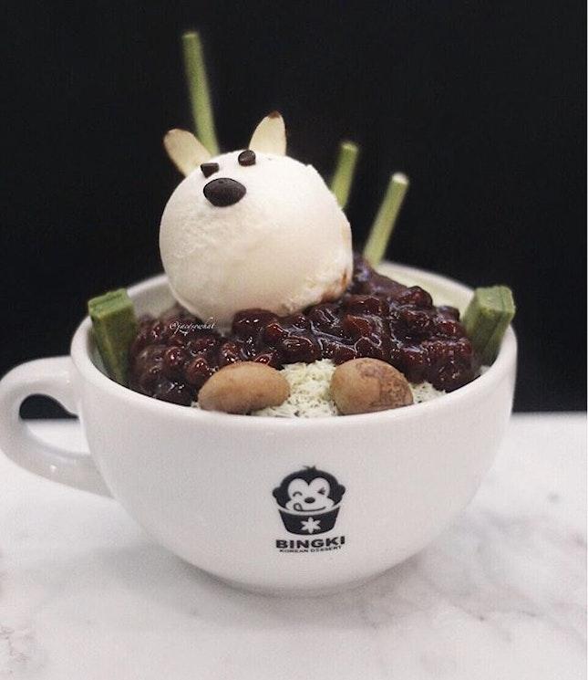 Matcha bingsu $14 from Bingki, enjoy the sweet and soft azuki (red bean paste) most.