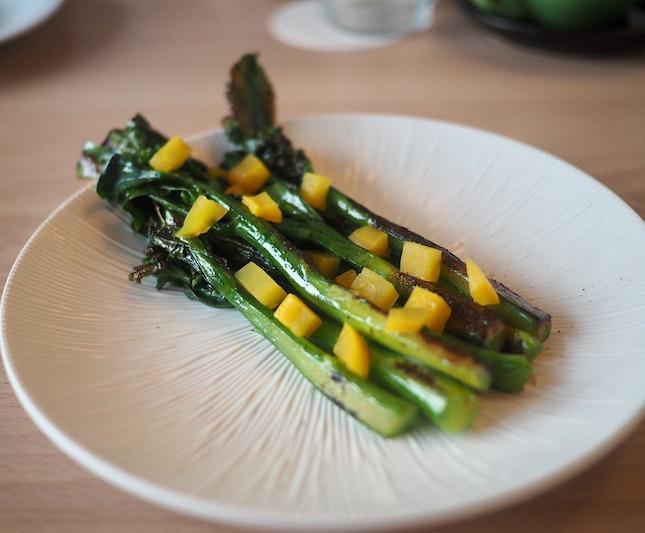 Grilled Kai Lan, Pickled Daikon ($6)