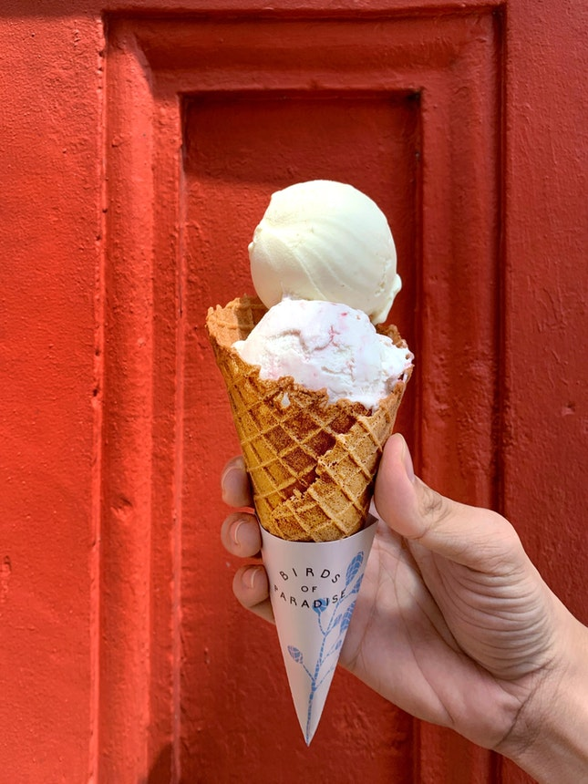 Spiced Pear + Lychee Raspberry + Thyme-infused Cone