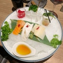 Vegetable Sashimi on Ice with Oyster-Leaf Shooter Glass