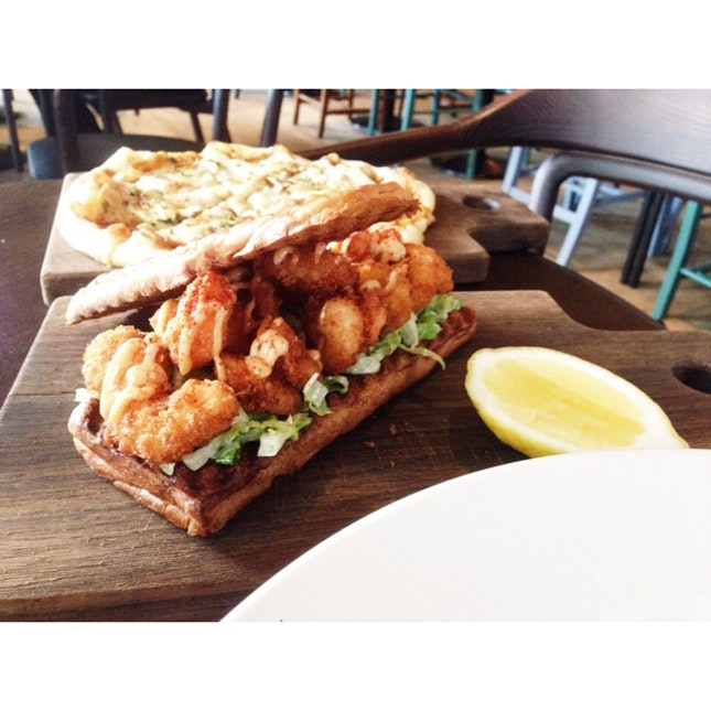 Brunch With Fried Prawns Sandwich