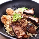 Traditional Sarawak Noodles S$8.90; homemade chewy noodles served with minced pork, yummy char siew and fried wanton.