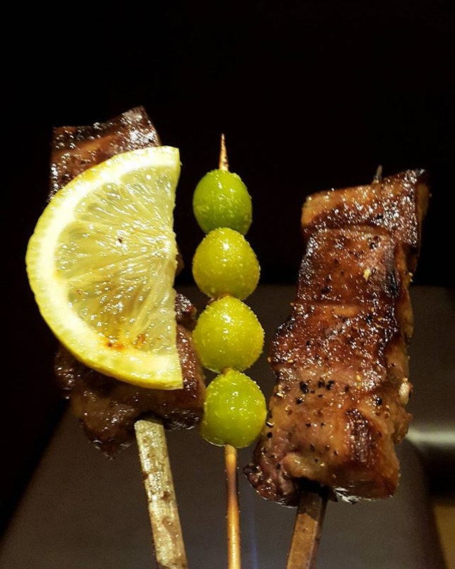 Some of my favourite yakitori from @toritamamy - Gyu Niku (beef), Ginnan (jap ginko nut), Gyu Tan (cow tongue).