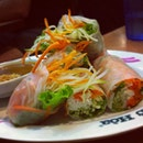 Vietnamese rice vermicelli roll with vegetables which crunch
