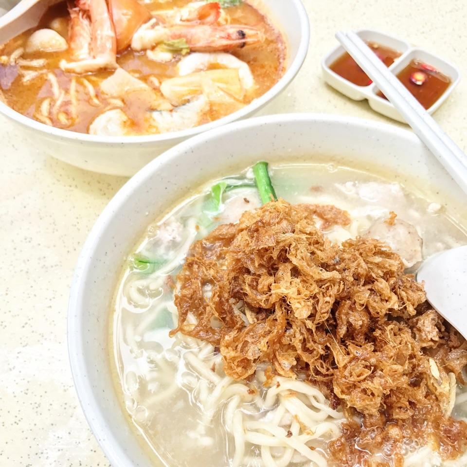 Pork Slices And Porkball Handmade Noodles + Thai Tom Yum Seafood Handmade Noodles