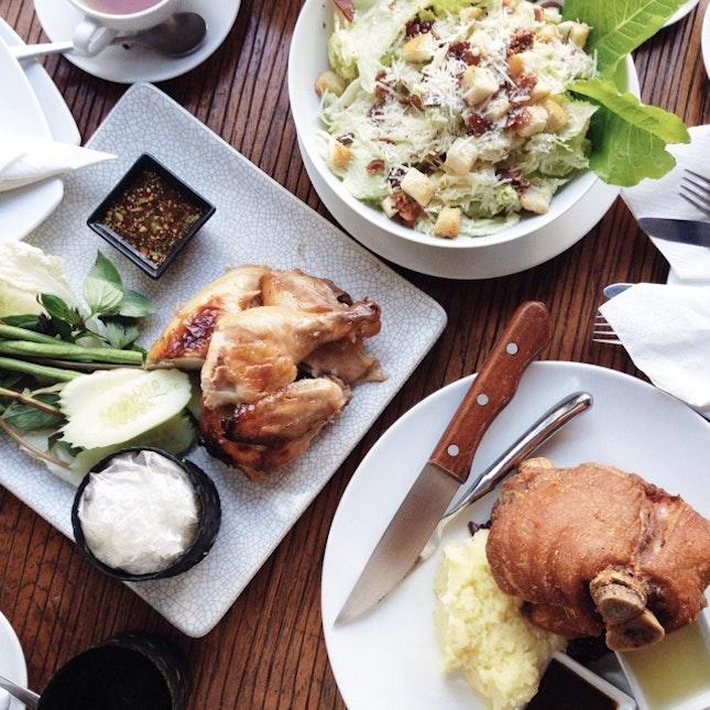 Thai Chicken, Crispy Pork Leg And Cesar Salad