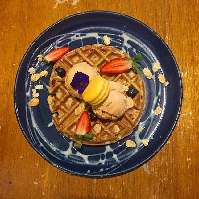 Night sweet treats - Thai Milk Tea ice cream with earl grey waffles.