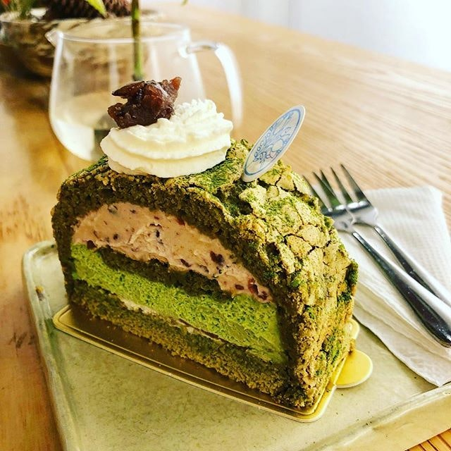 The matcha tert from @flor_patisserie ...