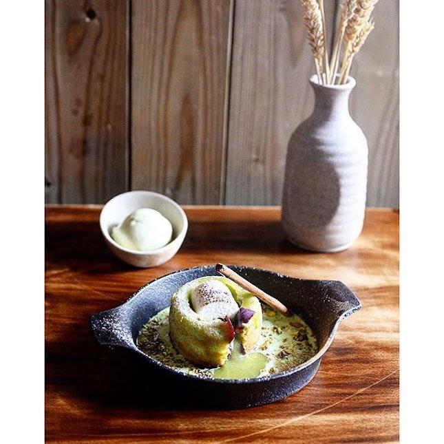 This baked #Pistachio Melt and #PandanIceCream.
