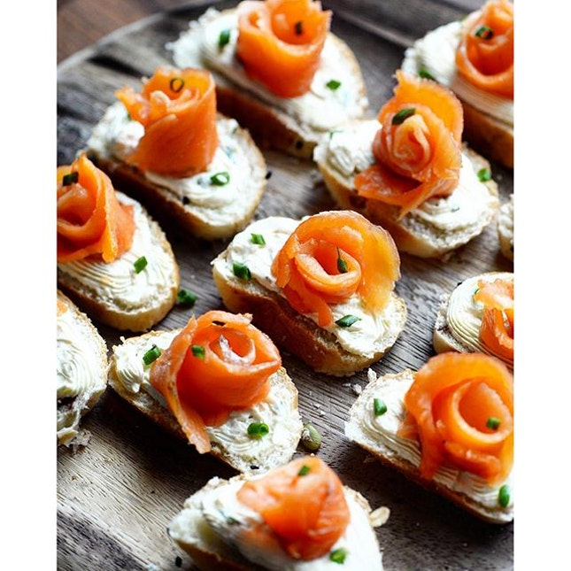 Made some #smokedsalmon with cream cheese #canapés.