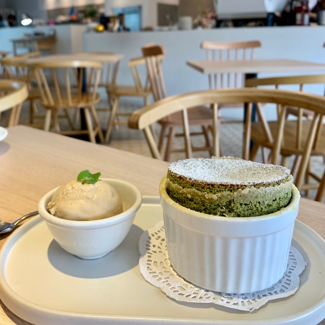 Matcha Soufflé With Earl Grey Ice Cream