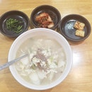 Ddeokguk ($16++) Rice cake soup with beef In such cold wet weather, just want a bowl of this to warm myself up.