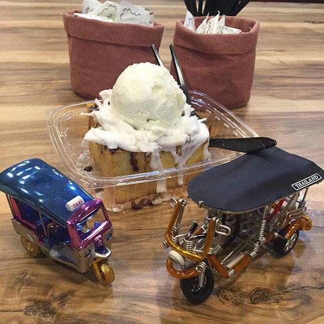 Aloha Coconut Shibuya Toast ($10.80) Young coconut fresh, with coconut ice cream and honey drizzle Available at @TukTukCha in @SuntecCity Like its crispy buttery honey toast.