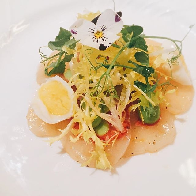 Scallop Carpaccio with Fava Beans, Quail Egg and Raspberry Balsamico