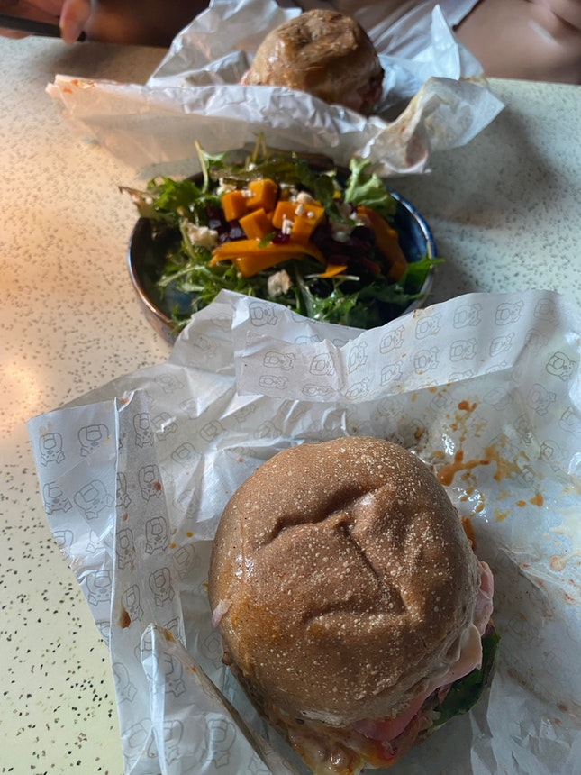 The Roots Burger [$16++] and Beets By Dre [$10++]