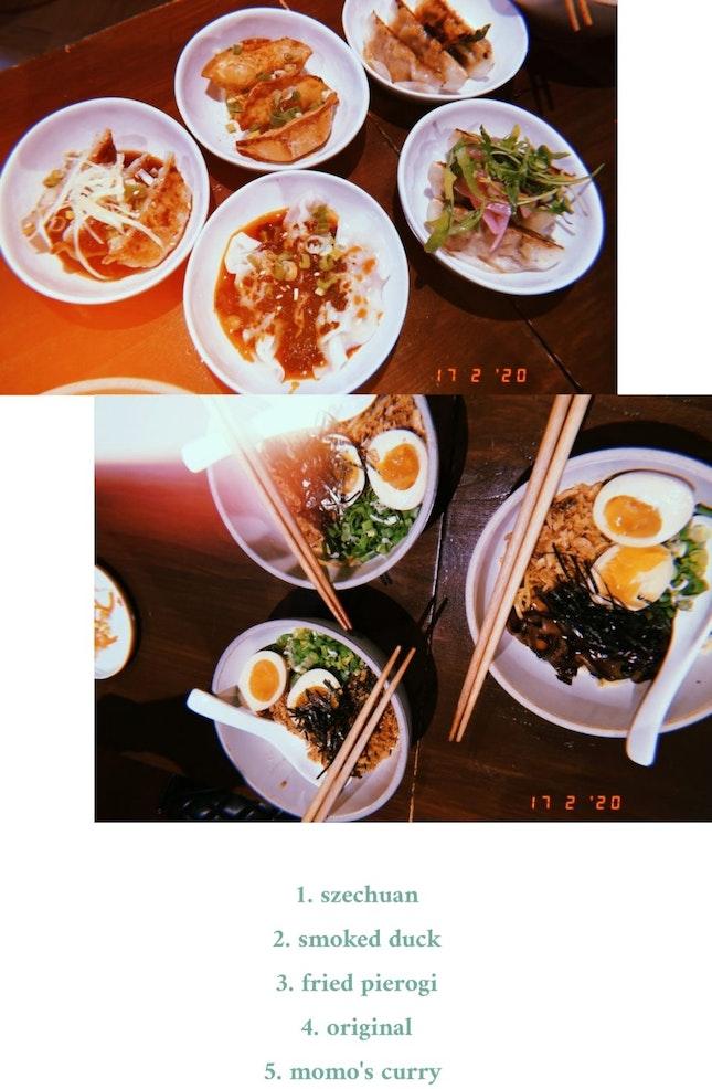 yummy noodles + dumplings