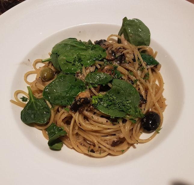 Pana E Aligo With Spinach And Mushroom