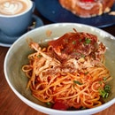 Soft Shell Chilli Crab Linguine ($28++)