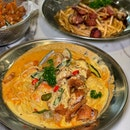 Tom Yum Salted Egg Seafood Pasta with Chicken Cutlet ($16.90)