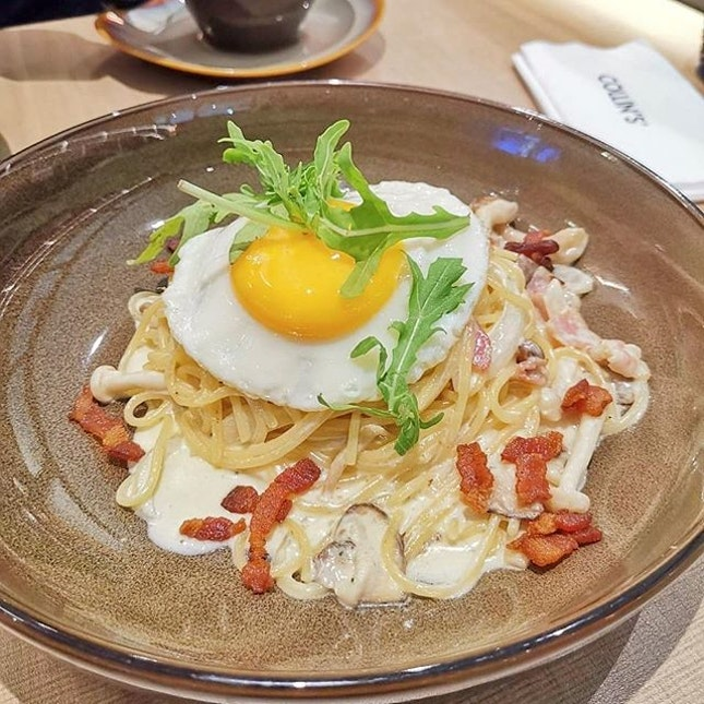First time trying collins and ordered the carbonara ($14) for myself..