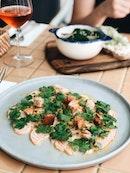 Salmon Capaccio w/ Bread Bits & Passionfruit Seeds