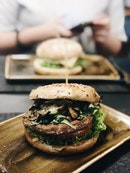 Roasted Mushrooms Burger with Beef Patty