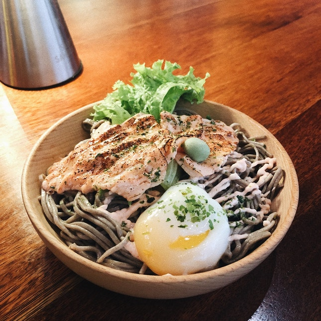 Salmon Mentaiko with Buckwheat Soba — $10.90