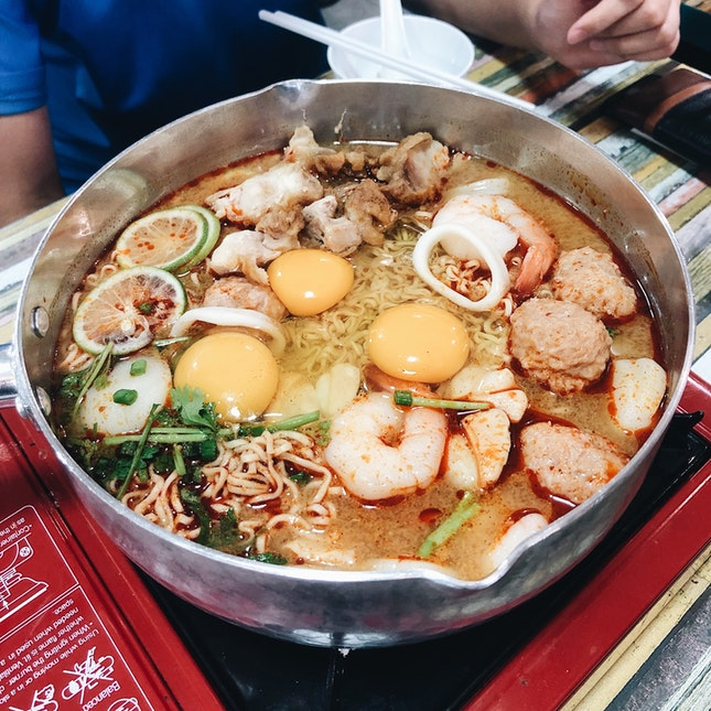 Tom Yum Seafood Noodles Wok (Big Mama Wok) — $22