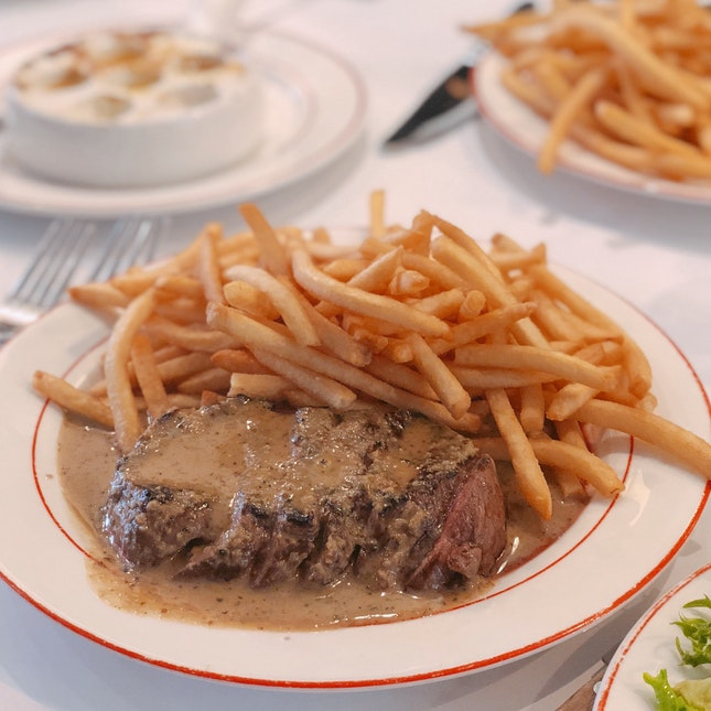 Trimmed Steak with Fries and Walnut Salad — $34.90