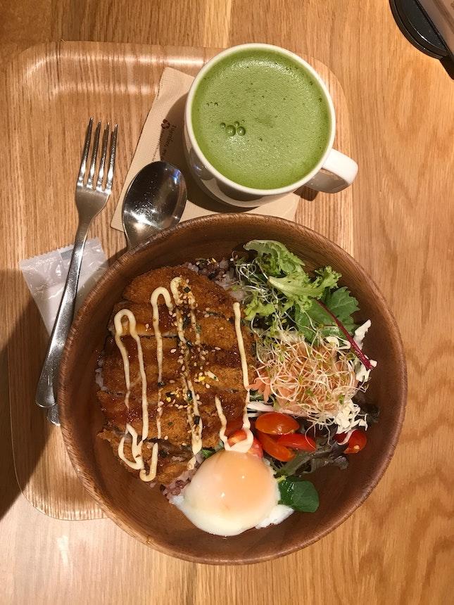 Pork Chop Rice And Green Tea Latte