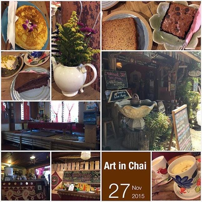 #artsy #cafe w/ their #signature #chaitea n #cakes in #quiettown #instafood #instadrink #foodporn #foodlover #burpple #cafehoping #instalongweekend #instatravel #artinchai #pai #thailand #felztravelfootprint2015 #nothernthailandtripday8 #th