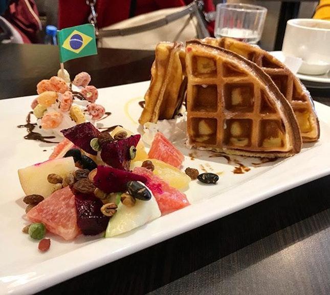 Fruity waffles as a post-breakfast dessert!