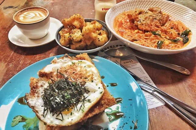 Pork Katsu Toast, Chilli Crab Pasta & Furikake Cauliflower
