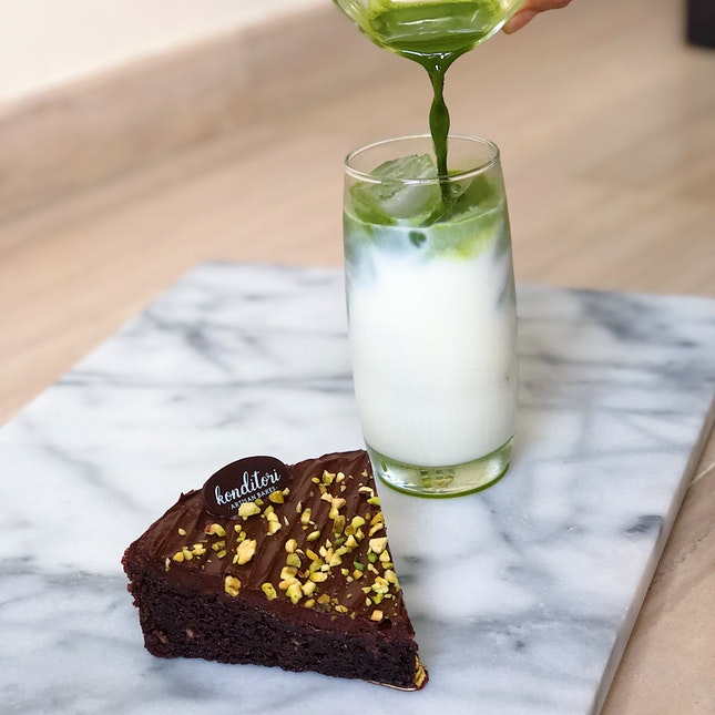 Sourdough brownie with pistachios