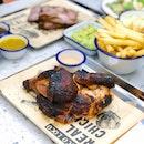 Hormone-free & organic-fed roast chicken .