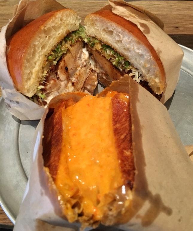 Grilled Cheese, Fried Chicken Sandwich
