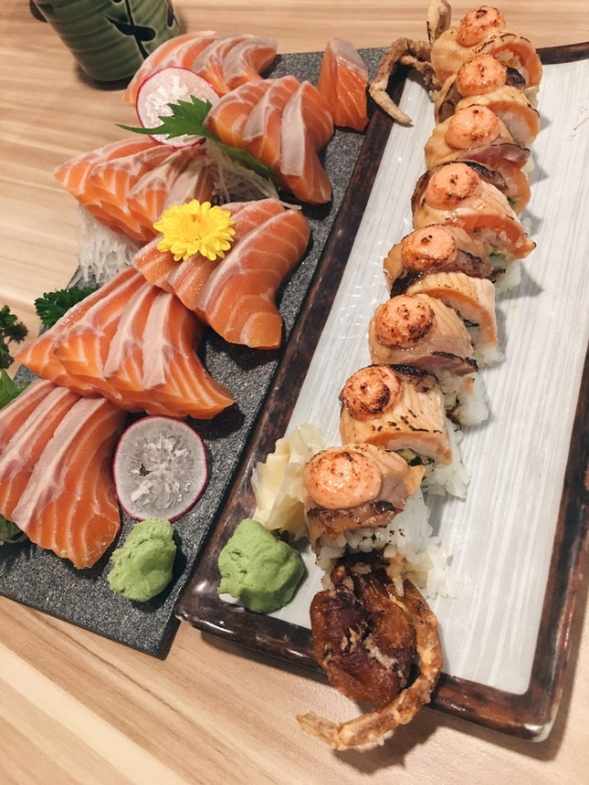 Salmon Sashimi, Soft Shell Crab Salmon Aburi Mentai Maki
