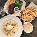 Carbonara, Steak, Truffle Fries
