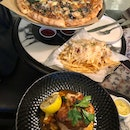 Bianca Fungi Pizza, Crispy Roast Chicken, Truffle Fries