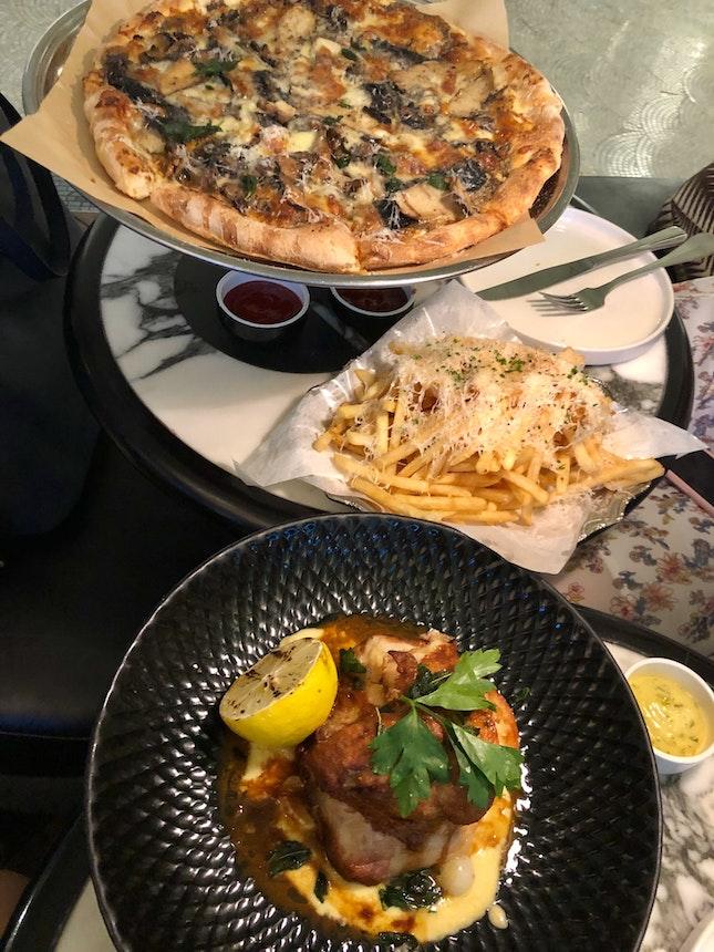 Bianca Fungi Pizza, Crispy Roast Chicken, Truffle Fries